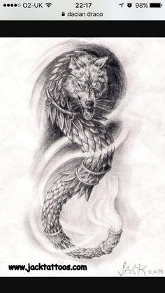 Dragonwolf arm tattoo by TattooBiter on DeviantArt God Tattoos, Baby Tattoos, Future Tattoos, Body Art Tattoos, Tatoos, Small Tattoos, Lion Tattoo, Get A Tattoo, Arm Tattoo