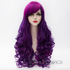 Charming Inclined Bang Long Purple Highlight Capless Fluffy Curly Synthetic Cosplay  Wig For Women Long Synthetic Hair Online 83cf4131fc