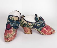 Brocaded silk shoes, c.1750-60  Made from richly patterned brocaded silk satin.