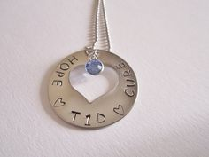 Juvenile Diabetes/ Type 1 Diabetes support- hand stamped jewelry. Etsy.