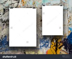 #Two #blank #frames on #graffiti #wall #background
