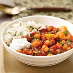 This hearty chickpea stew features classic Moroccan spices like cumin, chili powder, and turmeric. Serve over hot cooked rice and top with yogurt and cilantro.