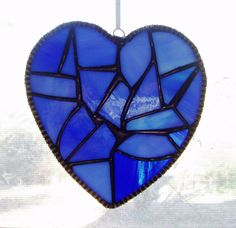 Stained Glass Heart, Heart Suncatcher, Blue Heart Ornament, Broken Heart Suncatcher, Patchwork Heart by TiffanyThis on Etsy https://www.etsy.com/listing/499039958/stained-glass-heart-heart-suncatcher