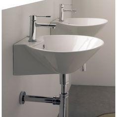 Sfera Ceramic Wall Mount Bathroom Sink with Overflow - Lavatory sink Badezimmer Badezimmer dusche Badezimmer fliesen Above Counter Bathroom Sink, Square Bathroom Sink, Small Bathroom Sinks, Bathroom Ideas, Downstairs Bathroom, Bathroom Layout, Washroom, Bath Ideas, Pedestal Sink