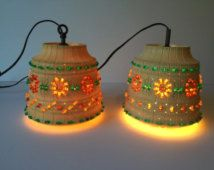 Vintage Pair of Lawnware Lights, Swag Lights, Mid Century Lamps, Hanging Lamps, Patio Lamps, Tiki Party Lights, Travel Trailer Lights