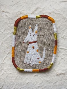 "SOLD Brooch - ""Pointy ears"", Funny Dogs collection, hand embroidered by makiko on Etsy, $25.00"