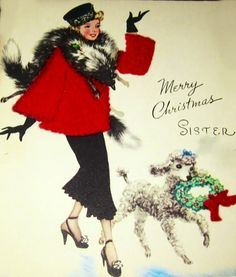 fabulous at Christmas. vintage, woman in red coat, lamb, sheep Merry Christmas Sister, Old Fashioned Christmas, Antique Christmas, Christmas Past, Christmas Greetings, Christmas Postcards, Vintage Christmas Images, Retro Christmas, Vintage Holiday