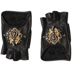 Elie Saab Women Embellished Leather Fingerless Gloves (64.340 RUB) ❤ liked on Polyvore featuring accessories, gloves, black, cashmere-lined leather gloves, elie saab, lined gloves, real leather gloves and fingerless gloves