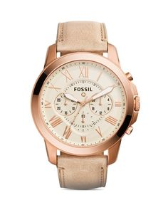 Fossil Q Grant Leather Strap Tech Watch, 44mm