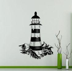 Lighthouse Wall Decal Nautical Sea Ocean Beach Vinyl Sticker Home Room Interior Decoration Waterproof High Quality Mural (283xx)