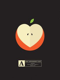 Olly Moss: simple illustration of an apple (black background makes the usually weak pastel colours stand out more and appear bolder)