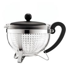 The Bodum Chambord Teapot Kettle with Removable Infuser comes in a distinctive, stylish round design perfect for any dining table. The streamlined slim frame encloses the teapot elegantly. The Bodum Chambord Filter, Glass Teapot, Chambord, China Tea Sets, Ceramic Teapots, Steel Frame, Kettle, Herbs, Cleaning