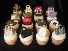 Designer handbag cupcakes!! Each french vanilla cupcake is topped with fluffy buttercream and a painstakingly handmade designer handbag replica.