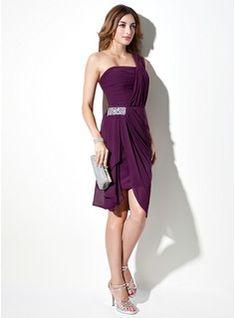 Sheath/Column One-Shoulder Asymmetrical Chiffon Cocktail Dress With Beading Cascading Ruffles (016021245) - JJsHouse