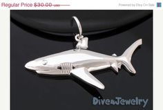 ON SALE Sterling Silver Shark Pendant Necklace by Dive4Jewelry, $27.00