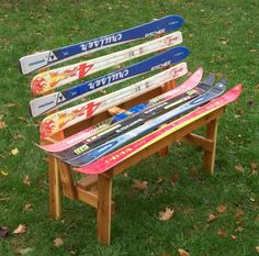 Recycled Ski Bench by maineskichairs on Etsy, $200.00 - unique gift for the avid skier!
