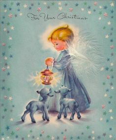 Vintage Greeting Card Christmas Angel Feather (O615)