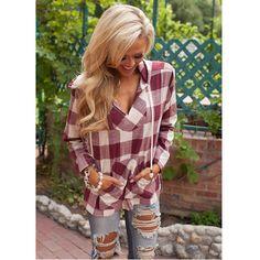 Europen Fashion Plaid Hooded Tops Women V-Neck Sexy Blouse Shirt For Women Plus Size Clothing Autumn Long Sleeve Blouses