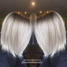 Platinum white blonde balayage lob