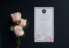 Rose menu by Willie wagtail design Invites, Wedding Invitations, Craft Wedding, Wedding Stationary, Menu, Rose, Crafts, Design, Menu Board Design
