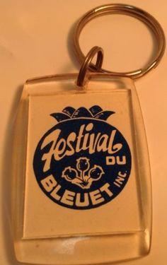 Vintage Keychain FESTIVAL DU BLEUET INC. Ancien Porte-Clés MISTASSINI , QUEBEC