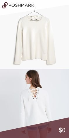 Madewell White Lace Up Back Pullover Completely sold out! Excellent condition! Just a little wrinkly from storage. From the Spring '17 Madewell line. 100% cotton! Comment if you have any questions! Madewell Sweaters Crew & Scoop Necks