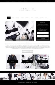 Camille - Feminine WordPress Theme by Ever Chic Designs on Web Themes, Website Themes, Make Theme, Responsive Layout, Social Media Icons, Creative Sketches, Premium Wordpress Themes, Business Card Logo, Web Design