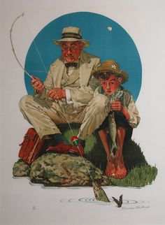 """""""Catching the Big One"""" by Norman Rockwell, 1929 ー【This Rockwell work was """"The Saturday Evening Post"""" cover, published August Norman Rockwell Prints, Norman Rockwell Paintings, Peintures Norman Rockwell, Red Truck Decor, Caricature Artist, Arte Pop, Art Sketchbook, Belle Photo, Les Oeuvres"""