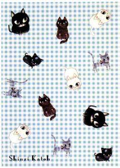 Shinzi Katoh Plaid Kitties Postcard http://shop.kawaiidepot.com