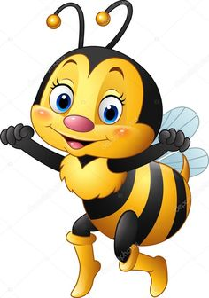 Vector Illustration Of Cartoon Bee Waving Hand Royalty Free Cliparts, Vectors, And Stock Illustration. Cartoon Bee, Cute Cartoon, Cartoon Drawings, Animal Drawings, Baby Animals, Cute Animals, Bee Pictures, Bee Drawing, Cute Bee