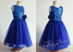 Royal blue sequined flower girl dresses with satin by Customshow