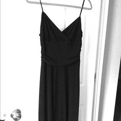 Black cocktail dress LBD with spaghetti straps, fitted bodice. Excellent condition David Meister Dresses Midi