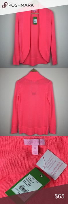 """Lilly Pulitzer Amalie Cardigan Pink Sun Ray Small NWT. Brand: Lilly Pulitzer. Style: Amalie Cardigan. Material: 100% Acrylic. Color: Pink Sun Ray. Size XS. Length 28 1/2"""" Armpit to armpit approx 17 1/2"""" Sleeve 25"""". Made in China. Make an offer. Lilly Pulitzer Sweaters Cardigans"""