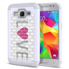 Get back in style the Samsung Galaxy Core Prime G360 Galaxy Prevail LTE Protector Cover Case Grey And Pink Love! Choose from various accessories at Acetag