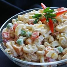 Bacon Ranch Macaroni Salad Allrecipes.com.  After reading reviews, I plan to add frozen peas and some hard boiled eggs to this.  I will also substitute some sour cream for part of the mayo.  I plan to use low fat mayo.
