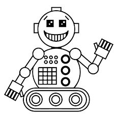 Robot Coloring Page and Word Tracing Robot Child and School