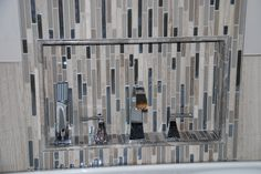 This bathtub faucet blends in great with the tile