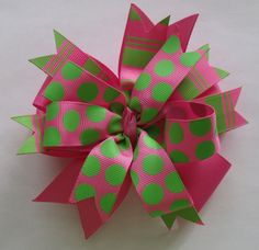 Hair Bow  Beautiful  Layered Pink and Green by ThePalmettoBaby, $6.00