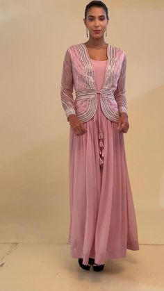 Indian Designer Outfits, Designer Dresses, Lehenga Hairstyles, Indian Wedding Gowns, Lehenga Style, Pink Gowns, Designs For Dresses, Embroidered Jacket, Pink Sequin