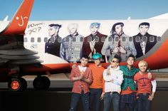 Big Bang travels overseas for the first time on Jeju Airlines 'Big Bang' airplane   #allkpop #Kpop #BigBang