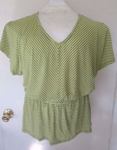 Mossimo womens V neck peplum top size L yellow/green and gray stripes EUC #Mossimo #Peplum #Casual.  http://www.ebay.com/itm/Mossimo-womens-V-neck-peplum-top-size-L-yellow-green-and-gray-stripes-EUC-/281814261367?ssPageName=STRK:MESE:IT
