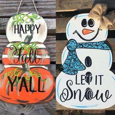 Finished Reversable Pumpkin/Snowman Door Hanger