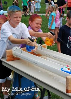 Used spray bottles to squirt boats - make track out of pvc cut in half or rain g. Used spray bottles to squirt boats – make track out of pvc cut in half or rain gutters with end caps … ti Backyard Games, Outdoor Games, Outdoor Fun, Fall Festival Games, Fete Ideas, Summer Fair, Fair Games, Fun Fair, Fun Activities