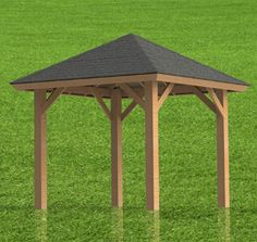 Gazebo Plans | Hip Roof - Perfect for Hot Tubs 10 x 12 --> But with a corrugated metal roof