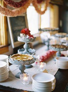 #dessert-table, #pie  Photography: Jose Villa - josevillaphoto.com Event Design: Moon Canyon Design - mooncanyondesign.com/  Read More: http://www.stylemepretty.com/2013/05/23/vermont-rehearsal-dinner-from-jose-villa/