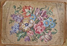 Here is a sample of a beautiful Berlin woolwork hand painted pattern. The outline was added later to size it up for a chair cover ? For thos...