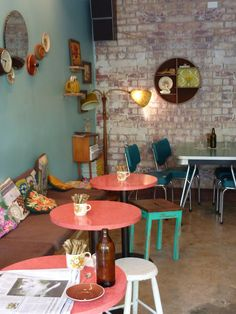 Cosy kitsch. Seating at Bell Jar Coffee, Newtown. Very homely.