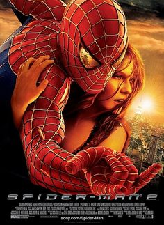I've always loved Spider-man and super heroes in general. Spider-man 2 was probably the best of the movies to come out. The poster does well to lead the eye across the poster while being visually interesting.