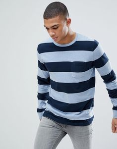 Abercrombie & Fitch Crew Neck Pocket Long Sleeve Top Block Stripe in Blue/Navy