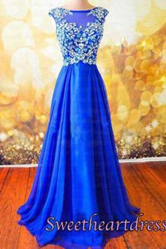 Cute navy blue chiffon modest prom dress with beautiful top details, homecoming dress, prom dresses long #coniefox #2016prom